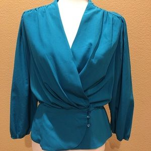 Turquoise Eva Mendez blouse